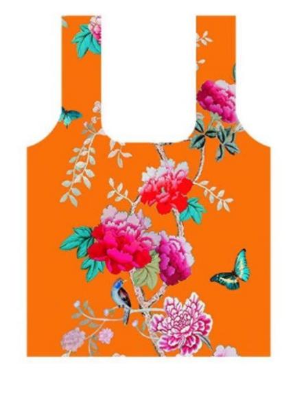 Anna Chandler Folding Shopping Bag - Orange Bird