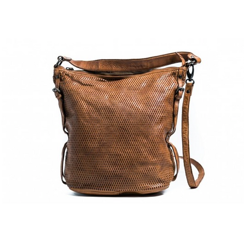 ORAN LEATHER - Perforated Hobo Handbag - Tan