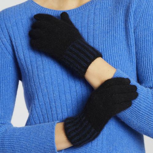 MERINO SNUG - Merino Wool Possum Gloves - Black & Navy