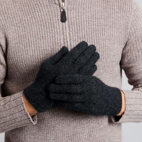 MERINO SNUG - Merino Wool Possum Gloves - Light Charcoal