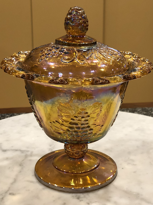 Vintage Amber Indiana Carnival Glass Sugar Bowl