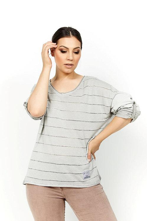 AMICI - Lurex Stripe Cotton V-Neck Top - Perla