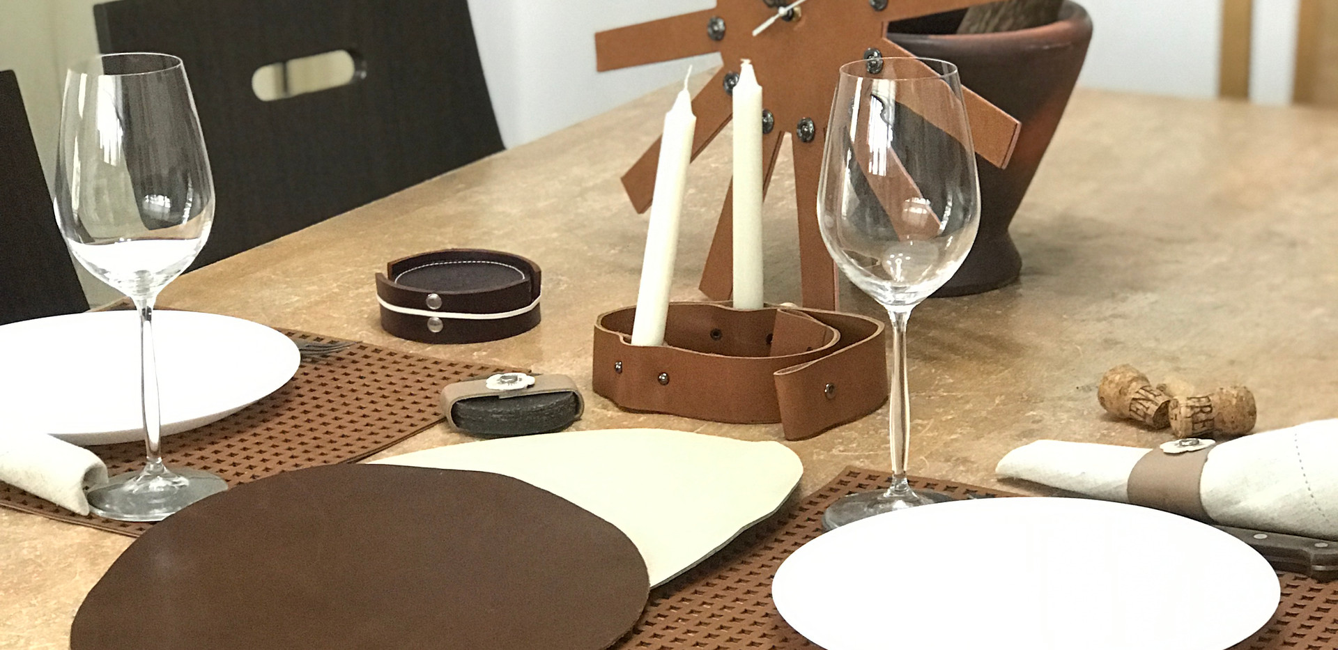 Table set in scrap leather