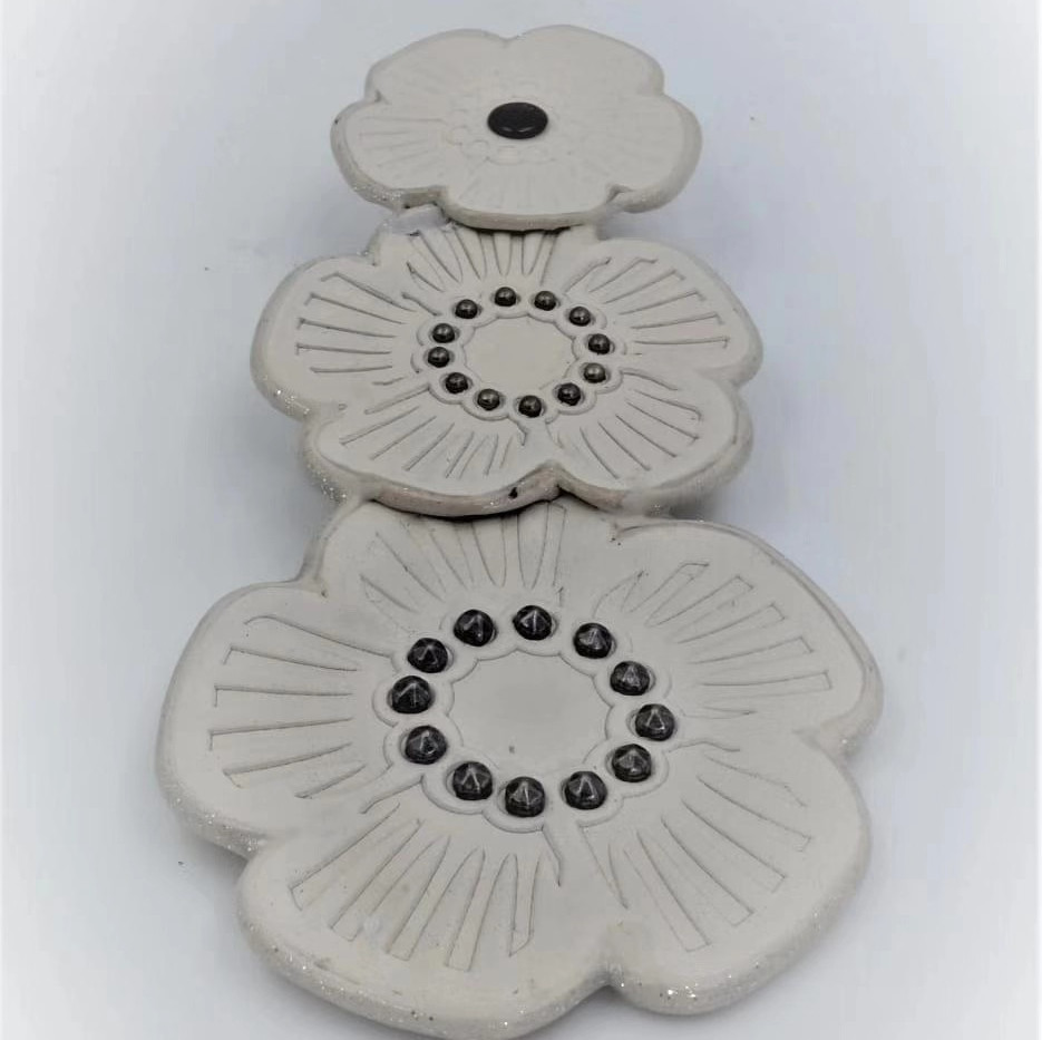 Srap leather White Flowers Patches