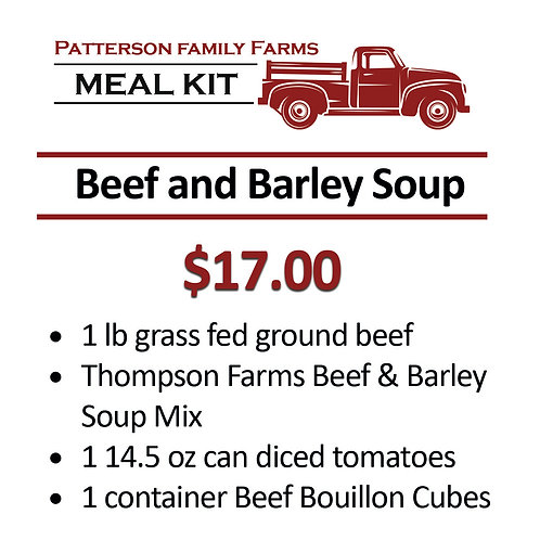 Beef and Barley Soup with Grass Fed Beef Meal Kit