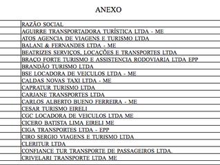 Empresas autorizadas a realizar transporte sob regime de fretamento