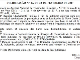 Chamamento público - Novo Gama(GO) x Brasília (DF)
