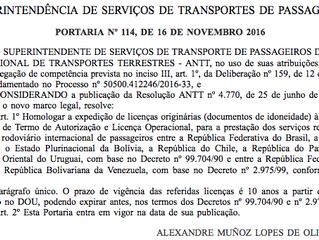 Homologação  da expedição de licenças originárias para a prestação dos serviços regulares de transpo
