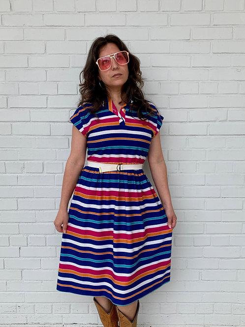 70's Striped Cotton Dress