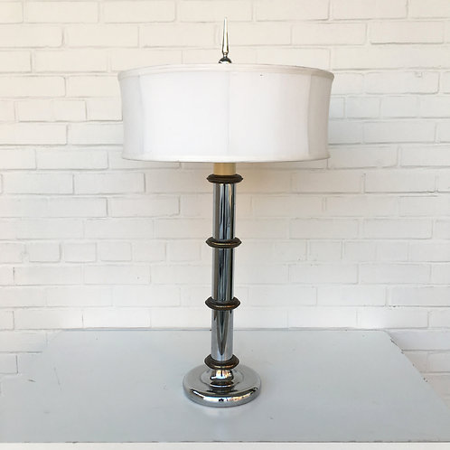 Chrome and Bronze Colored Metal Faux Bamboo Mid Century Lamp