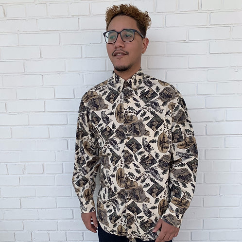 Long sleeve animal print button up