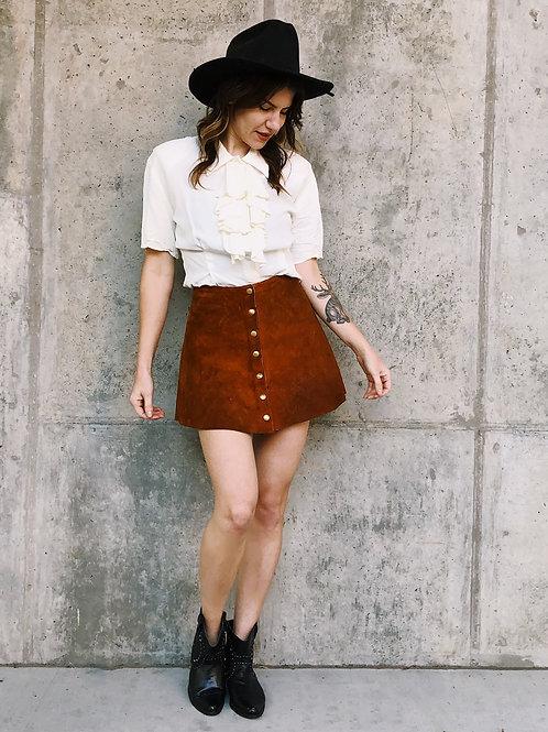 Vintage button front suede mini skirt