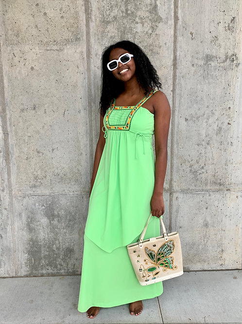 70's Lime Green Floral Maxi