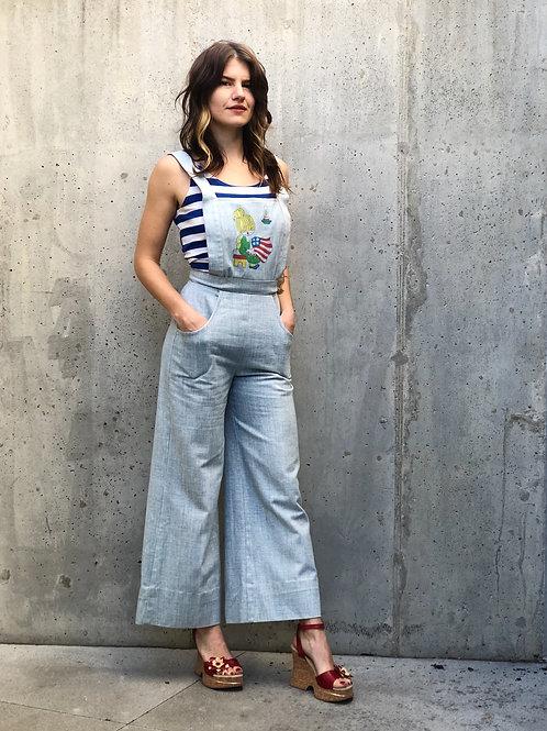70s handmade wide leg denim overalls