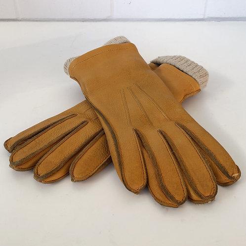 Vintage deer skin leather motorcycle gloves