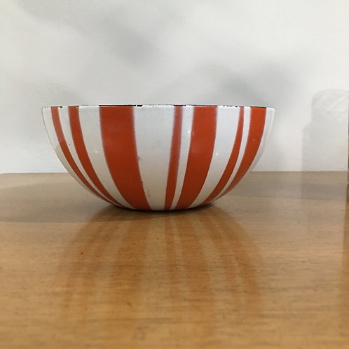 Orange And White Striped Enamel Bowl