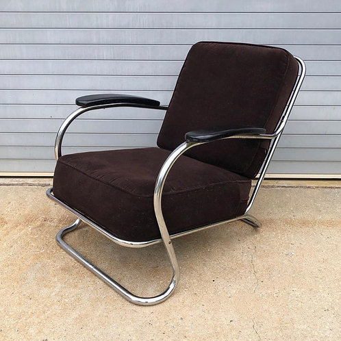 Tubular chrome lounge chair by KEM Weber for Lloyd