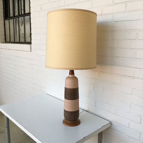 Two Tone Mid Century Modern Pottery Lamp
