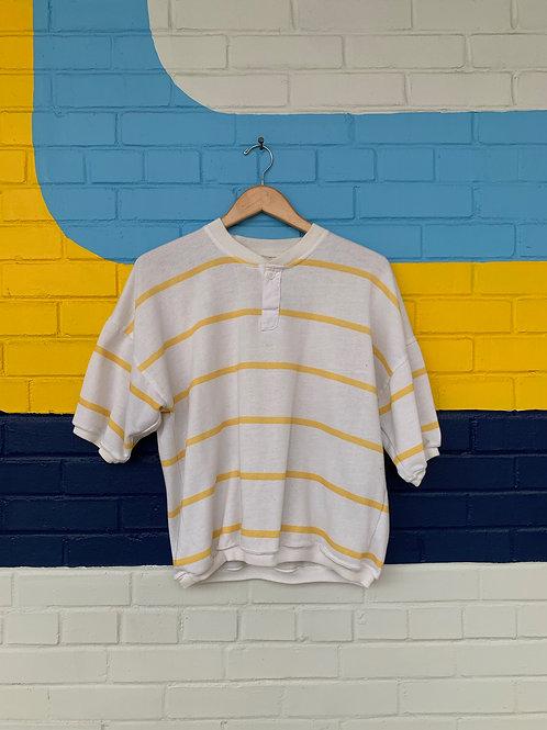 80's Vintage White + Yellow Striped Top