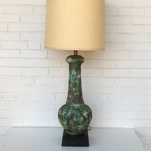 Large Italian Pottery Lava Glaze Mid Century Lamp