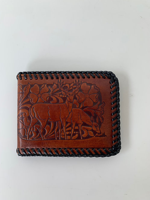 Vintage Tooled Leather Deer Wallet