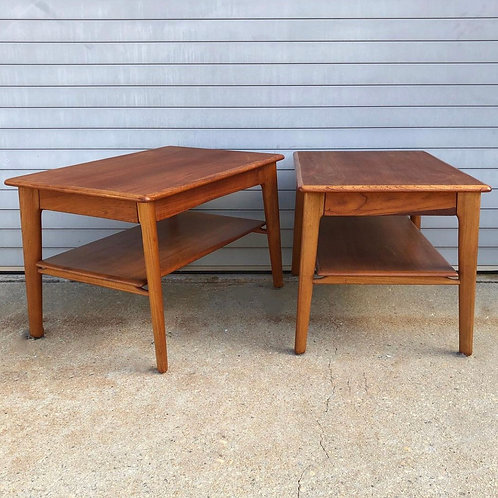 Teak side tables with drawer