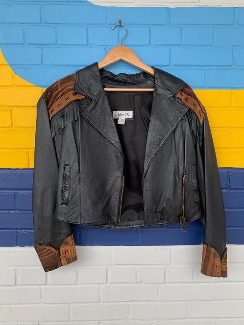 Awesome Leather Jacket With Fringe + Animal Print