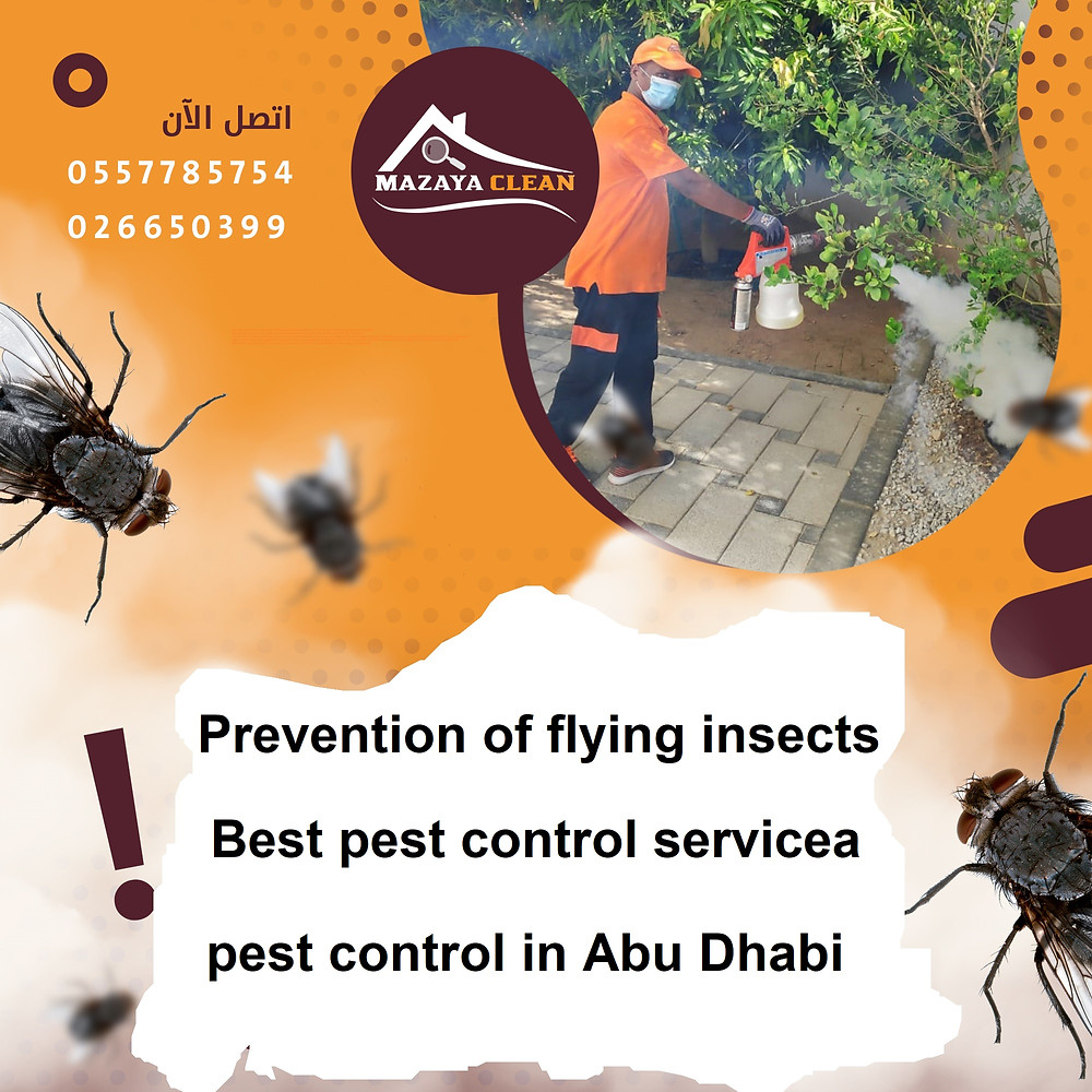 Prevention of flying insects We often suffer in our homes from flying insects, especially in the kitchen, specifically fruit flies and drain flies. What is the reason for the presence and increase in the numbers of fruit flies and drain  flies in homes? The life cycle of flies is generally short and not long, and there is more than one stage that the insect goes through until adulthood, and its growth is helped by the presence of leakage of water and decomposing materials from foods, fruits and vegetables, sewage dirt, lack of cleaning and lack of maintenance, kitchen fan malfunction and failure to work efficiently. Elimination and control of all these things helps prevent fruit flies and drain flies from growing and multiplying.