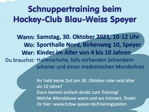 Schnuppertraining am 30.10.2021