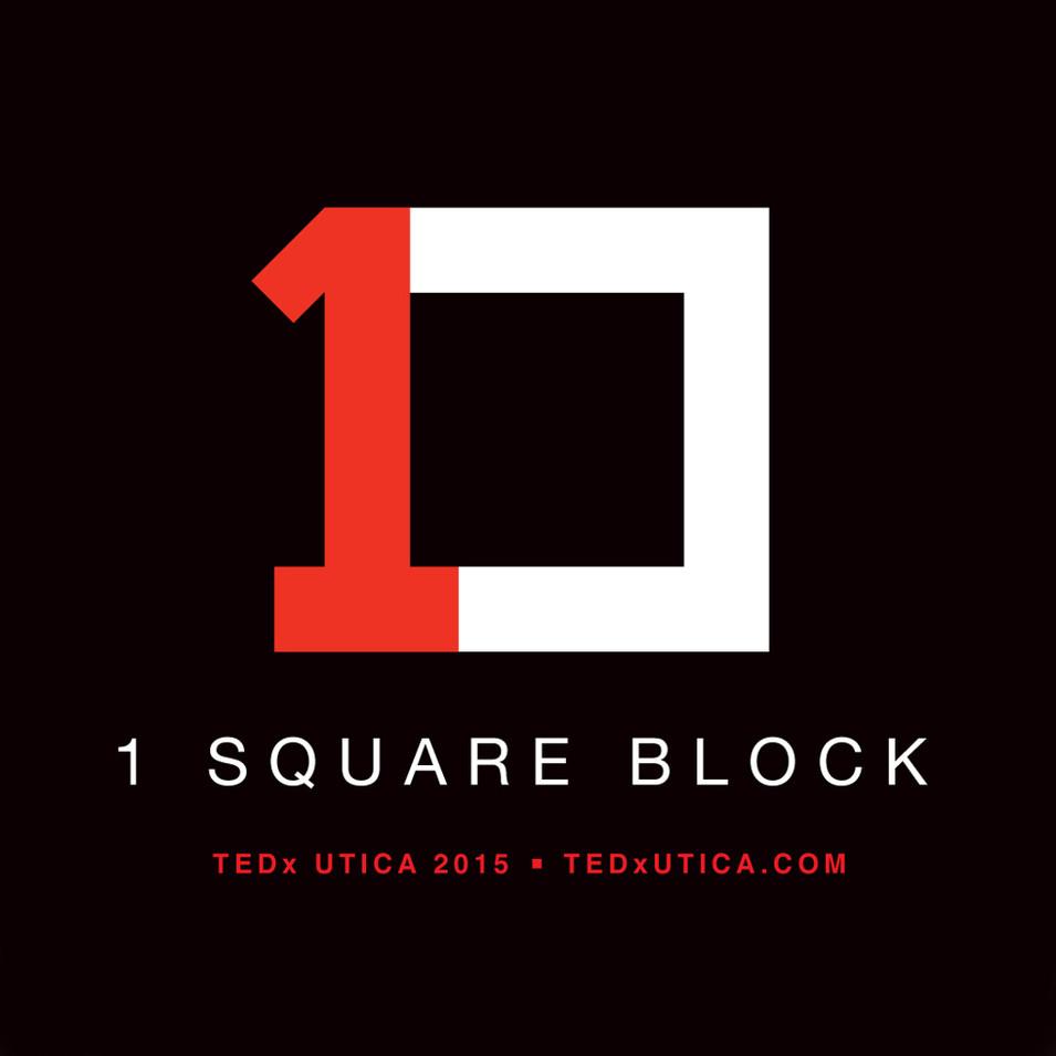 TEDxUtica 1Square Block logo