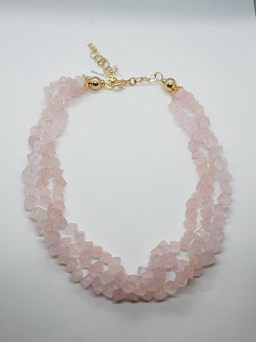 Colar curto  pedras Quartz rosa