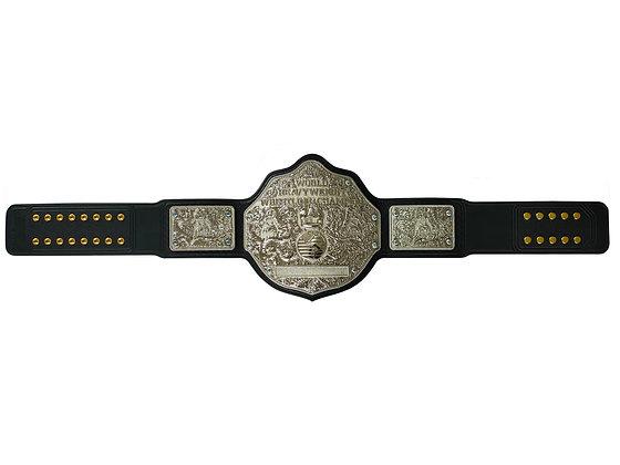 Silver Big Gold World Heavyweight Championship Belt w/ Tooled Strap