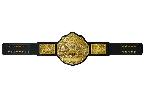 Gold Big Gold World Heavyweight Championship Belt w/ Tooled Strap