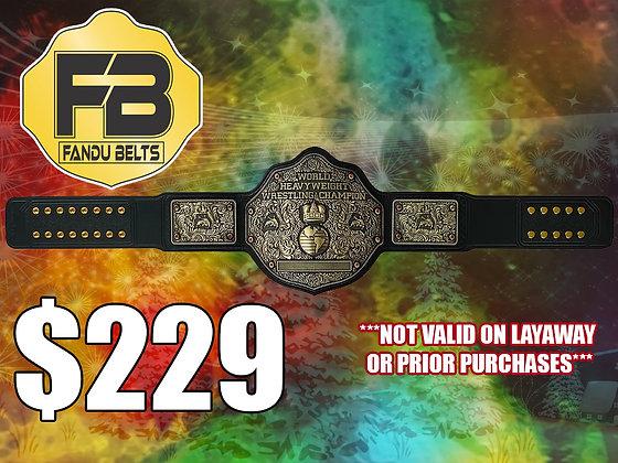 Imperfect Antique Big Gold World Heavyweight Championship Belt w/ Tooled Strap
