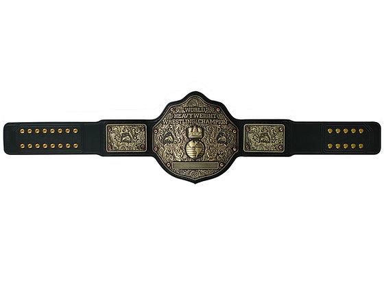 Antique Big Gold World Heavyweight Championship Belt w/ Tooled Strap