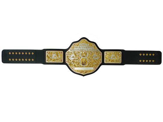 Dual Big Gold World Heavyweight Championship Belt w/ Tooled Strap