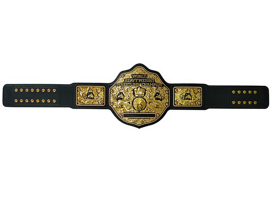Gunmetal Big Gold World Heavyweight Championship Belt w/ Tooled Strap
