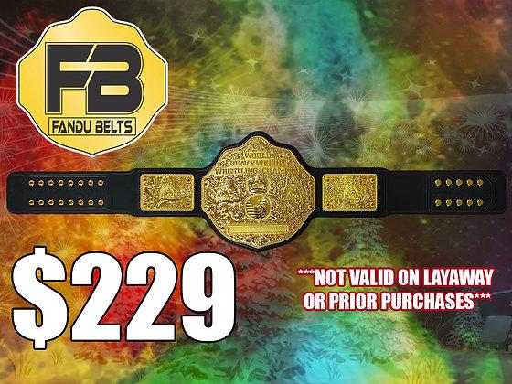 Imperfect Gold Big Gold World Heavyweight Championship Belt w/ Tooled Strap