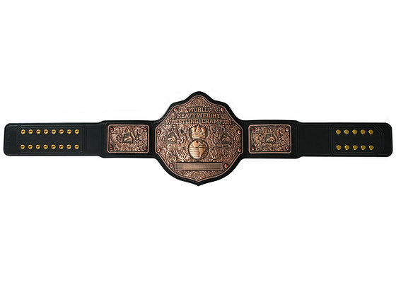 Copper Big Gold World Heavyweight Championship Belt w/ Tooled Strap