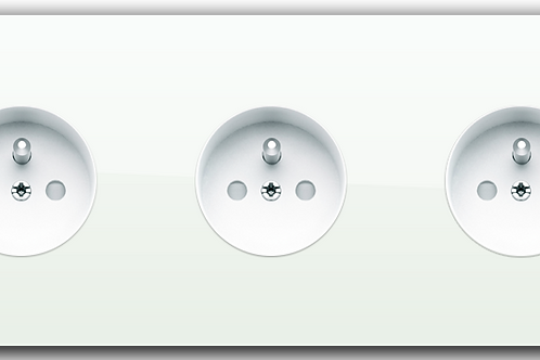 Prise de courant design triple Blanc Laqué