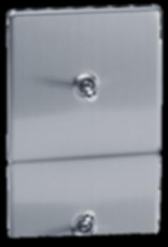 interrupteur retro design acier brosse, interrupter va et vient design, interrupteur luxe, interrupteur haut de gamme,interrupteur sur plaque en acier coloris acier brossé