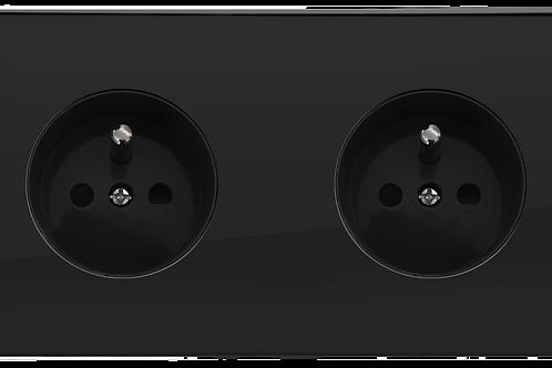Prise de courant design double Noir Laqué
