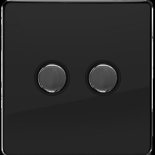 Interrupteur design Poussoir double Noir Laqué