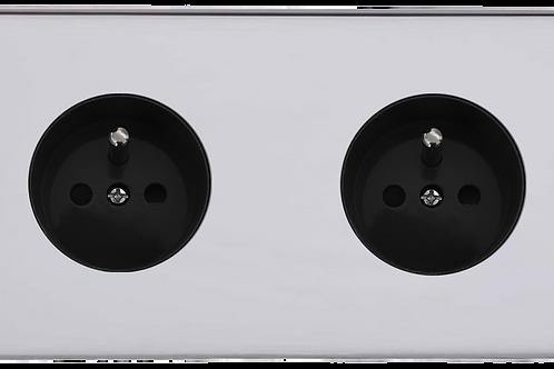 Prise de courant design double Chrome Poli