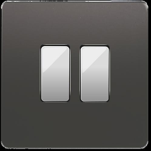 """Interrupteur design """"Classic"""" double Etain"""
