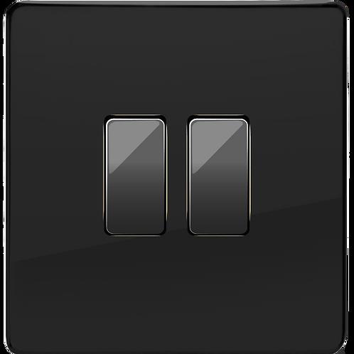 """Interrupteur design """"Retro"""" Double Noir Laqué"""