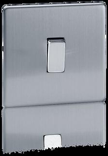 interrupteur design acier brosse, interrupter va et vient design, interrupteur luxe, interrupteur haut de gamme,interrupteur sur plaque en acier coloris acier brossé
