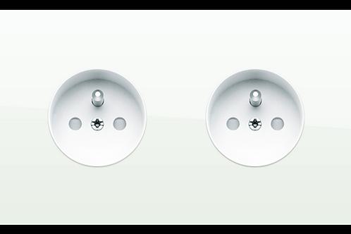 Prise de courant design double Blanc Laqué