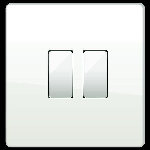 """Interrupteur design """"Classic"""" Double Blanc Laqué"""