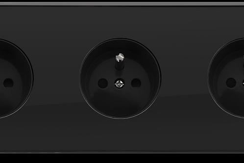 Prise de courant design triple Noir Laqué
